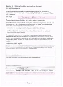 External Auditor certificate and report